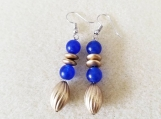 Blue Jade and Matte Gold Dangle Earrings, Blue Earrings, Earring