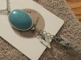 Blue Turquoise Pendant Necklace #3085