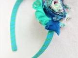 Children Aqua and Blue Flower Headband