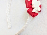Children Red Flower Barbie White Headband