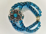 Deep Turquoise Czech Glass Cathedral Beads with Flower Center