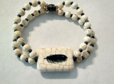 Double Strand Howlite Stretch Bracelet with Eagle Feather Stone