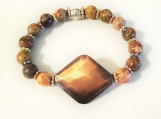 Leopard Jasper Stone with Copper Plated Center Stretch Bracelet
