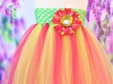 Green and Pink Flower Tutu Dress or Skirt