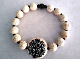 Howlite Bead Stretch Bracelet with Tree of Life Stone Center