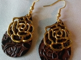 Leather Rose Earrings