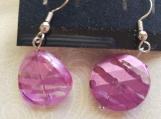 Magenta Twisted Circle Earrings