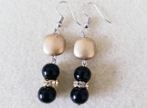 Matte Gold and Black Glass Dangle Earrings, Beaded Earrings