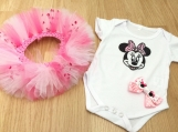 Minnie Mouse Onesie, pink tutu and hairclip set Size 0-3 months