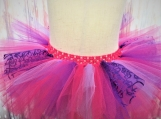 Pink and Heart Purple elastic Tutu (Size 3-6 years old)