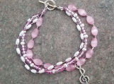 Pretty in Pink bracelet with Treble Clef charm