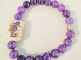 Purple Crackled Quartz beads with Seahorse Center Bead