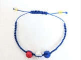 Grow With Me Acadian Shamballa blue, red and white bracelet