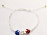 Grow With Me Acadian WhiteShamballa blue, red and white bracelet
