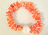 Striking Dyed Orange Quartz chips with Ceramic Pearl Center