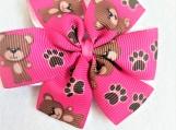 Teddy bear pink children hair bow
