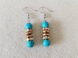 Turquoise Howlite & Matte Gold Rhinestone Earrings, Beaded Earri