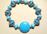 Unique Turquoise Colored Beaded Stretch Bracelet