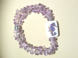 Whimsical Ceramic Seahorse and Amethyst Chip Elastic Br