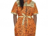 African Print Ankara Dress, Midi Shirt Dress With Side Pockets