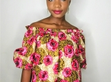 Ankara print, Bardot Off Shoulder top
