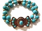 Antique Gold and Turquoise Colored Howlite Stretch Bracelet