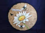 """Bees and Daisy """"Chipped Paint"""" Wall Art"""