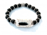Black Agate Beaded Stretch Bracelet with Eagle Feather Center