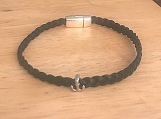 Black leather bracelet - anchor