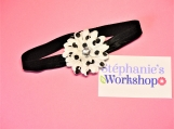 Black with White Dots Flower Baby Headband