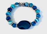Blue Striped Agate Bracelet and Large Striped Agate Center Stone