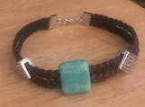 Brown leather bracelet - beads