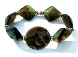 Forest Green Acrylic Beads with Round Ceramic Butterfly Center