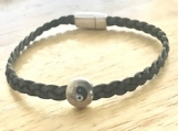 Gray leather bracelet - yin/yang