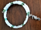 Green & White Beaded Bracelet with Seahorse charm