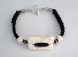 Howlite Bracelet with Eagle Feather Stone Center