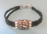 Leather bracelet - gray/black stone