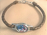 Leather bracelet - peace flag