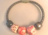 Leather bracelet - round with decorative beads