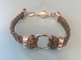 Leather bracelet - silver ring