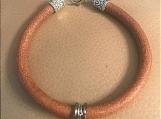 Leather bracelet - silver rings