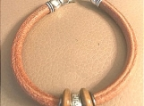 Leather bracelet - wood rings