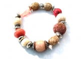 Multi-Colored Pink, Tan, and Cream Stretch Bracelet