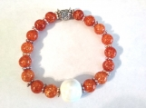 Orange Crackled Agate Bracelet with Ceramic Pearl Center