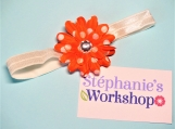 Orange with White Dots Flower Baby Headband