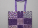 Purple patchwork Tote Bag