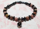 Rhodonite & Hematite beaded bracelet