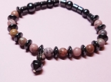 Rhodonite & Hematite beaded bracelet