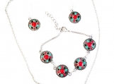 Southwest Style Multicolored Metal and Enamel set
