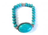 Turquoise Colored Howlite Bracelet and Oval Howlite Center Stone